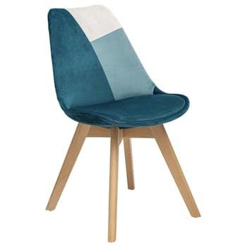 Chaise en velours bleu style scandinave (lot de 2) GOTEBORG