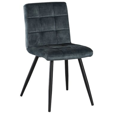 Chaise en velours capitonné bleu MALMOE (lot de 2)