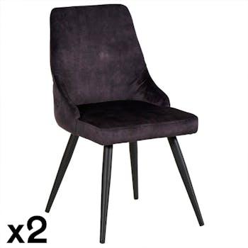 Chaise en velours gris anthracite (lot de 2) MALMOE