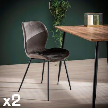 Chaise en velours gris anthracite MELBOURNE (lot de 2)