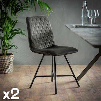 Chaise en velours gris motif losange MELBOURNE (lot de 2)