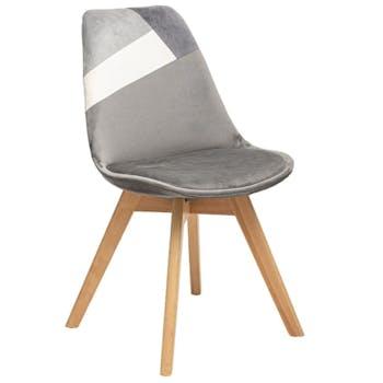 Chaise en velours gris style scandinave (lot de 2) GOTEBORG
