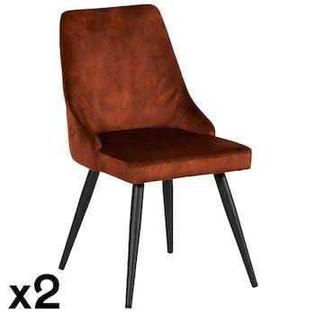 Chaise en velours havane (lot de 2) MALMOE