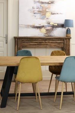Chaise en velours jaune moutarde HAWAI (lot de 2)