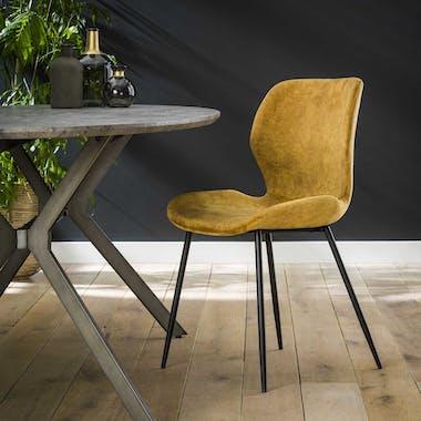 Chaise en velours jaune moutarde MELBOURNE (lot de 2)