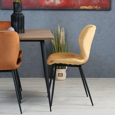 Chaise en velours jaune style moderne (lot de 2) MELBOURNE