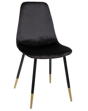 Chaise en velours noir avec pieds dorés (lot de 2) GOTEBORG