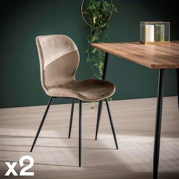 Chaise en tissu beige pieds metal de style contemporain