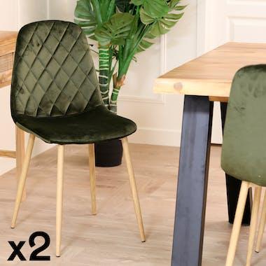 Chaise en velours vert foncé HAWAI (lot de 2)