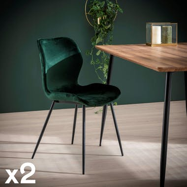 Chaise en tissu vert pieds metal de style contemporain