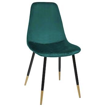 Chaise en velours vert pieds dorés (lot de 2) GOTEBORG