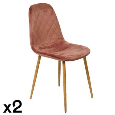 Chaise en velours vieux rose HAWAI (lot de 2)