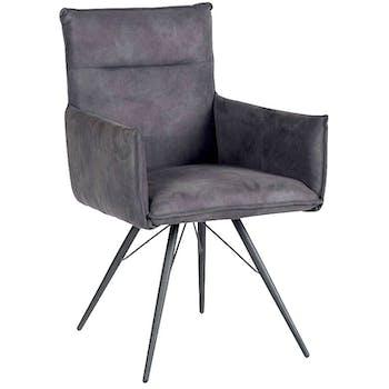 Chaise fauteuil avec accoudoirs tissu microfibres gris et pieds métal noir 57x60x90cm