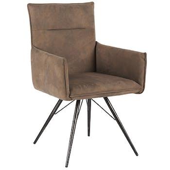 Chaise fauteuil avec accoudoirs tissu microfibres taupe et pieds métal noir 57x90x59cm