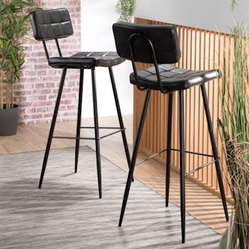Chaise de bar en tissu noir pieds metal style contemporain