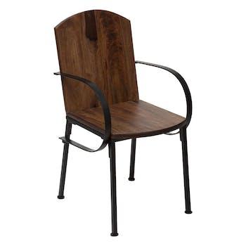 Chaise industrielle bois de manguier métal MEXICO