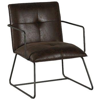 Chaise industrielle havane avec accoudoirs EPIKA