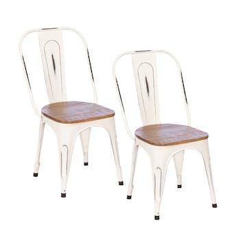 Chaise industrielle métal blanc bois recyclé LEEDS (lot de 2)