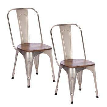 Chaise industrielle métal chromé bois recyclé LEEDS (lot de 2)