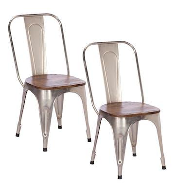 Chaise style bistrot en metal chrome vieilli et bois recylce