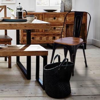 Chaise style bistrot en metal noir vieilli et bois recylce