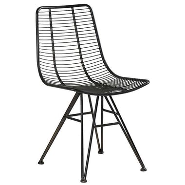 Chaise en fils de metal noir de style indutriel