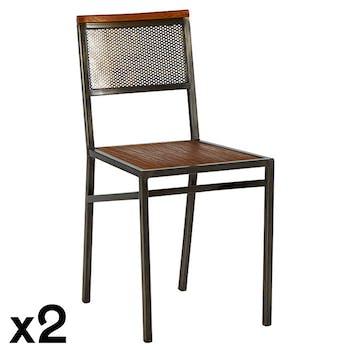 Chaise industrielle métal vieilli teck (lot de 2) CLEVELAND