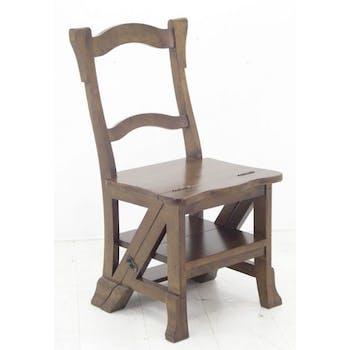 Chaise libraire escabeau bois hévéa massif TRADITION