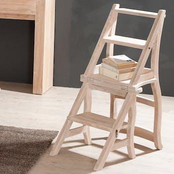 Chaise libraire teck blanchi DIANE