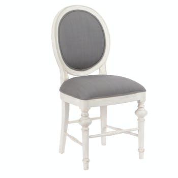 Chaise Médaillon Baroque HERITAGE bois blanchi tissu gris 50x53x96cm AMADEUS
