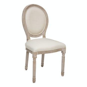 Chaise médaillon beige crème (lot de 2)