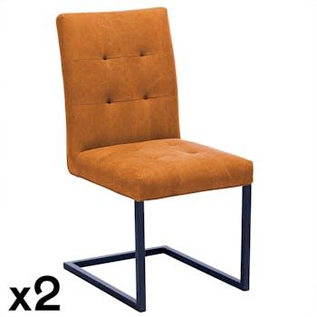 Chaise moderne camel (lot de 2) OKA