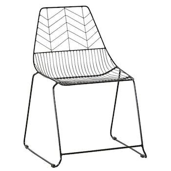 Chaise en fils de metal noir de style contemporain
