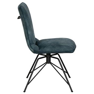 Chaise pivotante velours bleu lagon (lot de 2) OKA