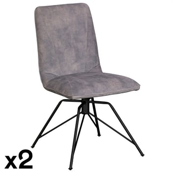 Chaise pivotante velours gris (lot de 2) OKA