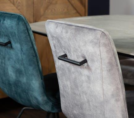 Chaise pivotante velours gris (lot de 2) OKA