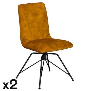 Chaise pivotante velours or (lot de 2) OKA