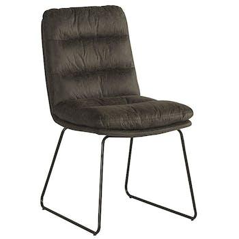 Chaise rembourrée grise EPIKA (lot de 2)