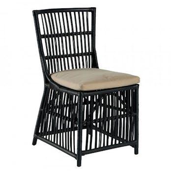 Chaise rotin noir et coussin Canada