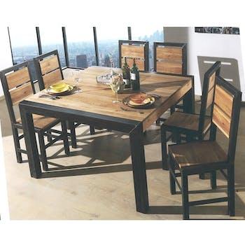Chaise salle à manger bois de chêne métal FERSCOTT