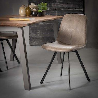 Chaise en tissu marron pieds metal de style contemporain