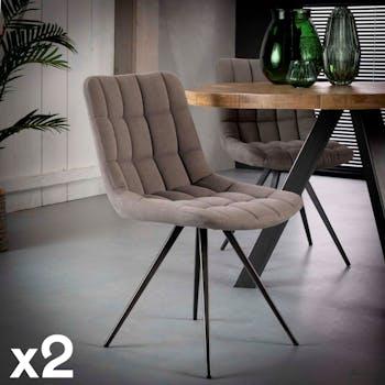 Chaise en tissu jeans gris pieds metal de style contemporain