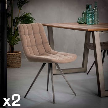 Chaise en tissu jeans beige pieds metal de style contemporain