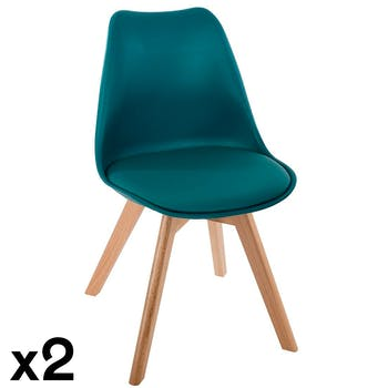 Chaise scandinave bleu canard (lot de 2) GOTEBORG