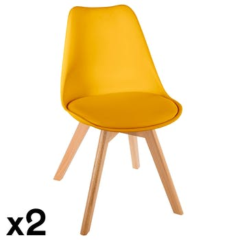 Chaise scandinave jaune (lot de 2) GOTEBORG