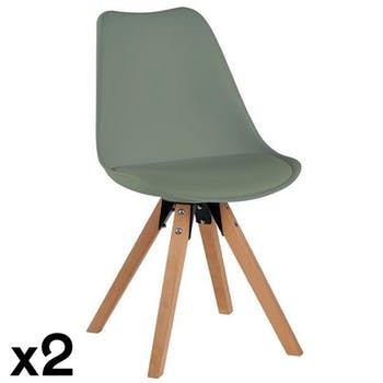 Chaise scandinave kaki TONY (lot de 2)