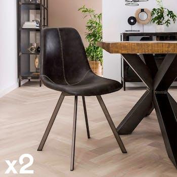 Chaise en tissu noir pieds metal de style contemporain