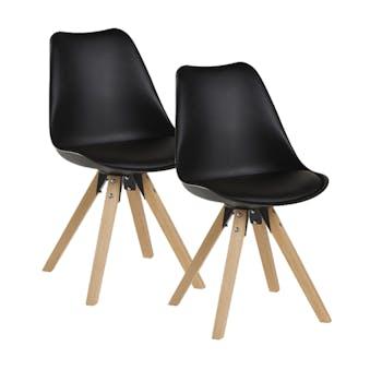 Chaise scandinave noire TONY (lot de 2)
