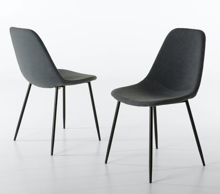Chaise en tissu gris pieds metal de style contemporain