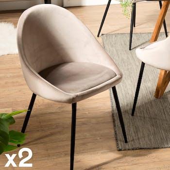 Chaise fauteuil en tissu beige pieds metal de style contemporain